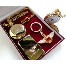 Bentley 24k Gold Clad Keyring, Pocket Watch and Cigarette Lighter